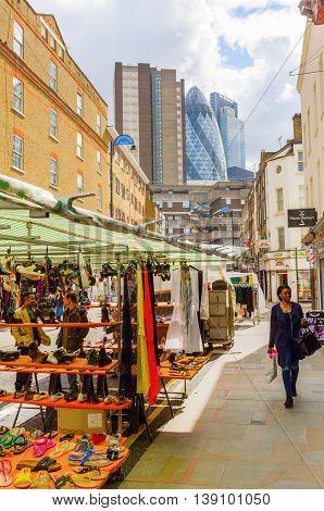 Petticoat Lane Market In London, Uk