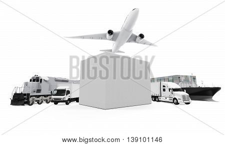 World Wide Cargo Transport isolated on white background. 3D render
