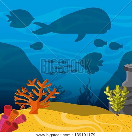 Sea life concept represented by whale and fish silhouette inside sea icon. Colorfull illustration.