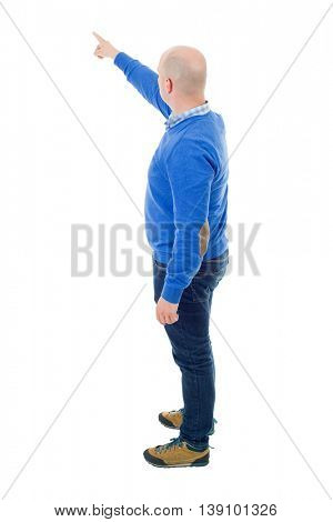 young casual man full body, pointing, isolated on a white background