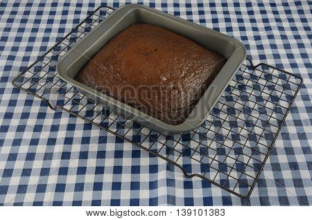 Baked chocolate cake in baking pan on cooling rack