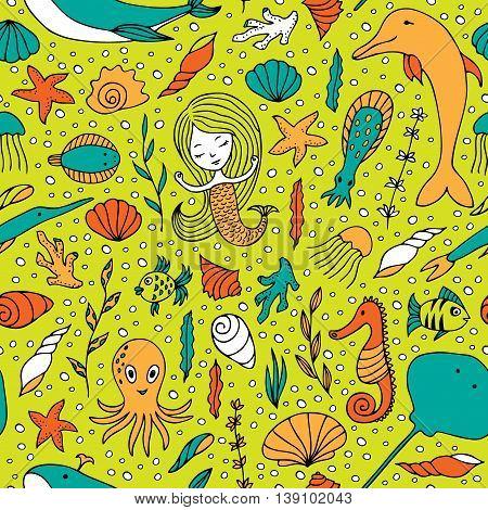 Seamless pattern marine life. Fish algae sea animals seashell mermaid and bubbles drawn by hand in cartoon style on yellow-green background.