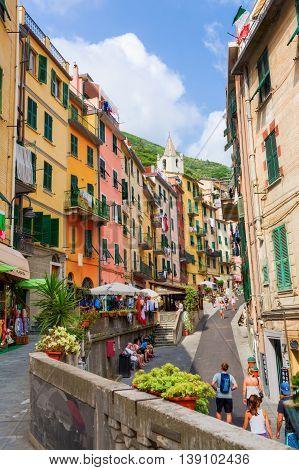 Steep Road In Riomaggiore, Liguria, Italy