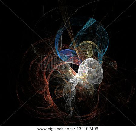multicolored flame fractal with black background , like angel