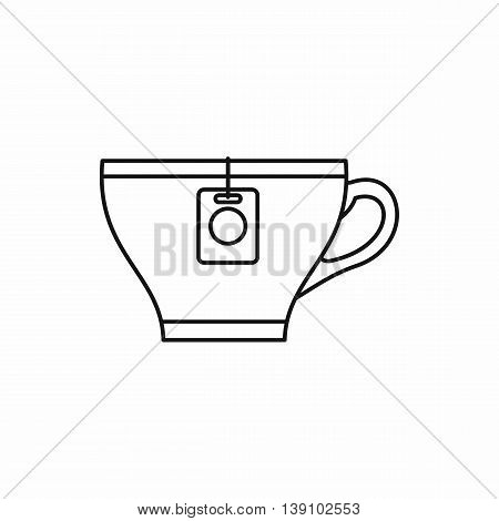 Cup with teabag icon in outline style isolated vector illustration