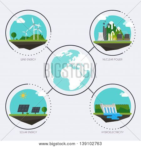 Set Of Icons With Different Types Of Electricity Generation. Landscape And Industrial Factory Buildi