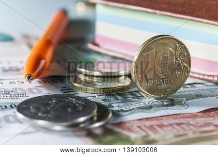 Russian Coins And Notes On The Bills Of Large Denomination.