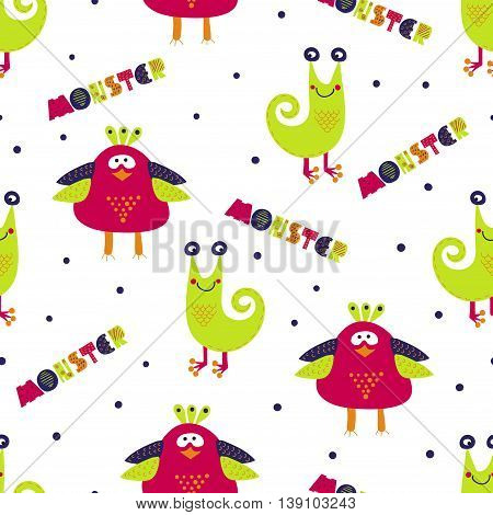 Cute monsters seamless pattern. Colorful vector background with cartoon monster characters. Suitable for kids textile, wallpaper, background, monster party invitation.