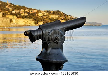 Coin operated monocular telescope at Italian Riviera