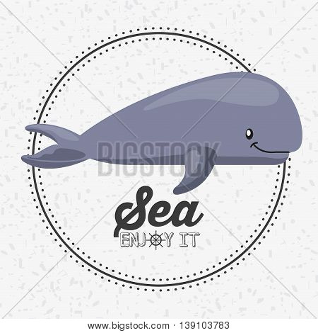 Sea life concept represented by whale icon over seal stamp. Colorfull illustration.