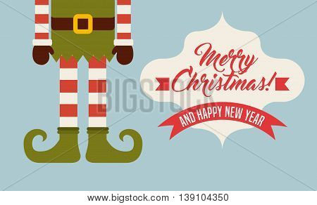 Merry Christmas concept represented by elf legs cartoon icon. Colorfull illustration.