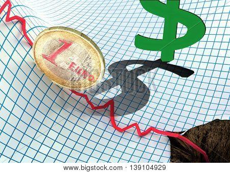a concept of euro crisis. 3D illustration
