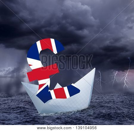 Pound floats in the stormy sea as symbol of future UK economy depression. Results of brexit polls.