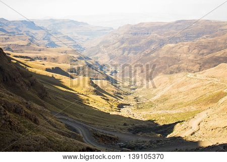 Sani Pass. Drakensberg. Mountain pass between the borders of South Africa and Lesotho. Winter in Africa. Artistic retouching.
