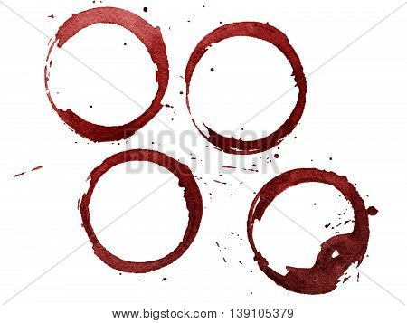 Set of red stains isolated on white paper background
