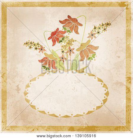 Flower frame. Floral border. Bouquet of flowers grunge illustration