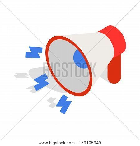 Loudspeaker icon in isometric 3d style isolated on white background. Sound symbol