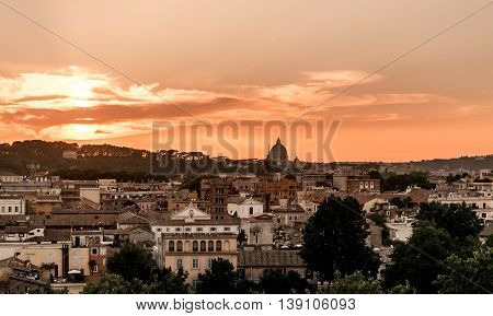 Rome intense sunset. Cityscape panorama twilight with dramatic sky
