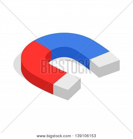 Magnet icon in isometric 3d style isolated on white background. Attraction symbol