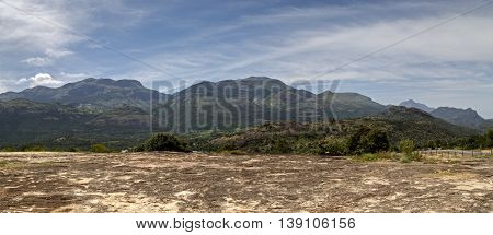 Panoramic view of the Western Ghats from Kanthalloor, a village near Marayoor, Munnar, Kerala, India