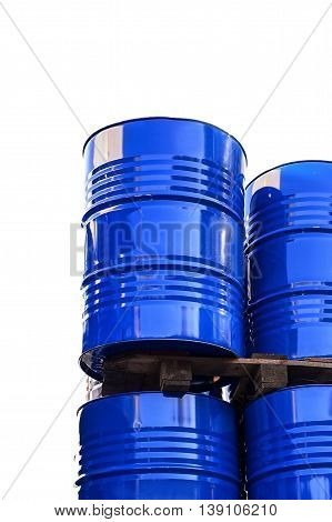 Chemical tanks stored at the storage of waste isolated on white.