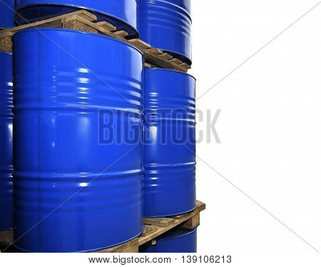 Blue metal fuel tanks of oil stored at the production site isolated on white.