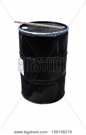 Black Chemical tanks stored at the storage of waste isolated on white.