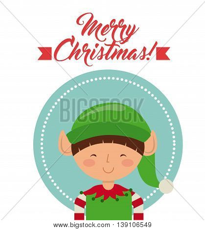 Merry Christmas concept represented by elf cartoon icon. Colorfull illustration.