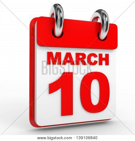 10 March Calendar On White Background.