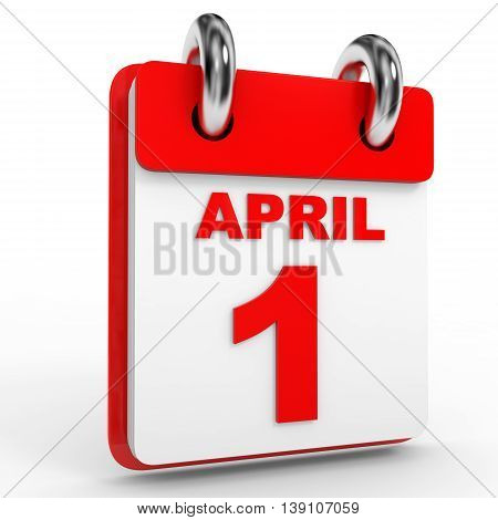 1 April Calendar On White Background.