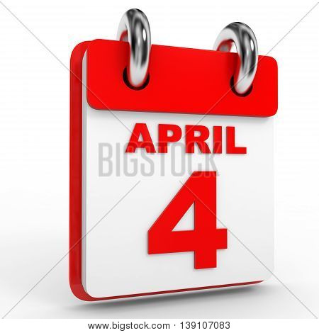 4 April Calendar On White Background.