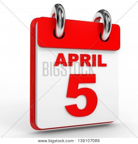 5 April Calendar On White Background.