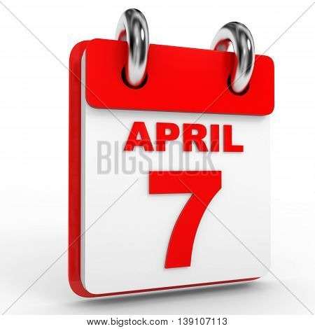 7 April Calendar On White Background.