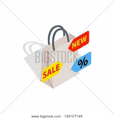 Sale icon in isometric 3d style isolated on white background. Development symbol