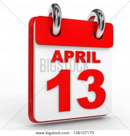13 April Calendar On White Background.
