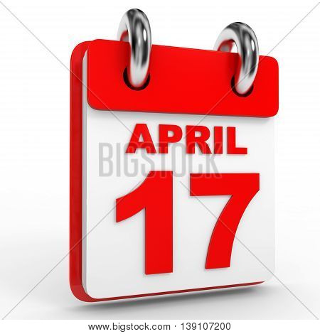 17 April Calendar On White Background.