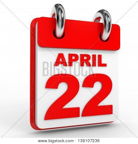 22 April Calendar On White Background.