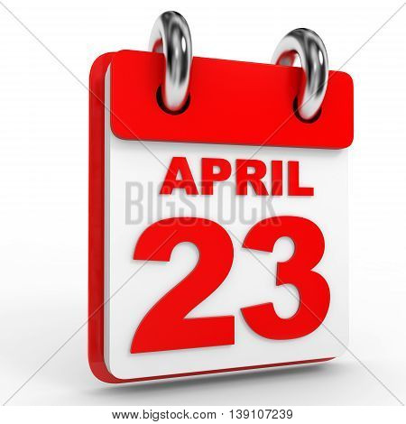 23 April Calendar On White Background.
