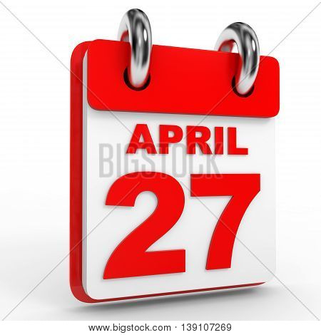 27 April Calendar On White Background.