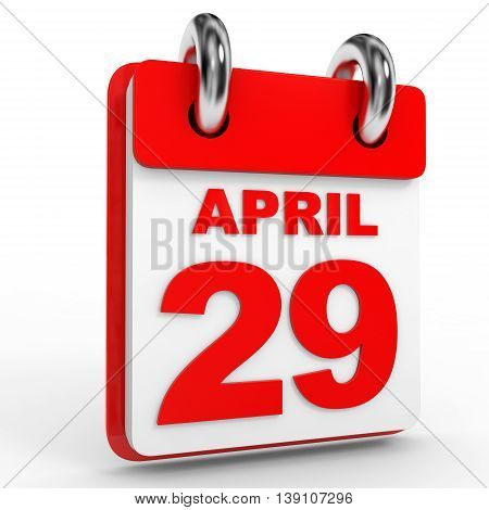 29 April Calendar On White Background.