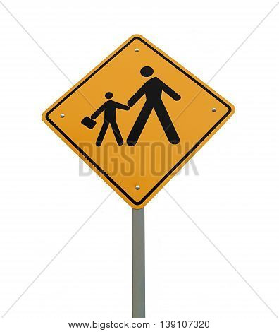 photo in the signpost of studio pedestrian crossing school.