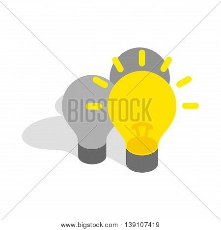 Light stays on icon in isometric 3d style isolated on white background. Highlighting symbol