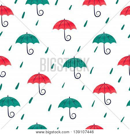 Seamless pattern with watercolor colorful umbrellas. Rain background. Rain drops and umbrellas isolated on white.