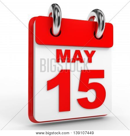 15 May Calendar On White Background.