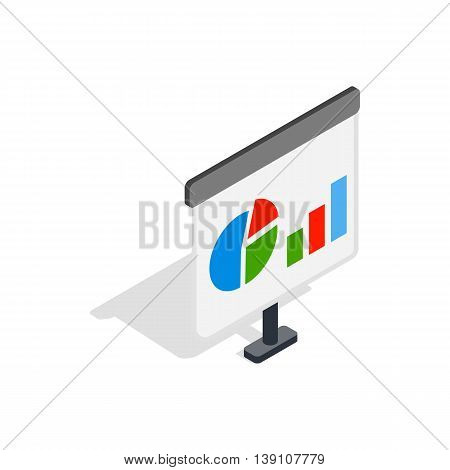 Board with schedule icon in isometric 3d style isolated on white background. Presentation symbol