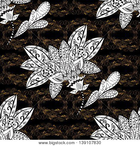 Seamless vintage pattern on black background with golden and white elements.
