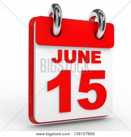 15 June Calendar On White Background.