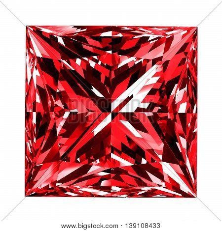 Ruby Princess Over White Background. 3D Illustration.