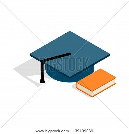 Student hat and book icon in isometric 3d style isolated on white background. Facilities for student symbol