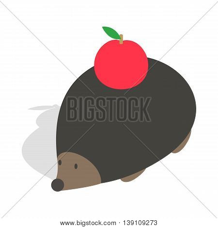 Hedgehog with apple icon in isometric 3d style isolated on white background. Animal symbol